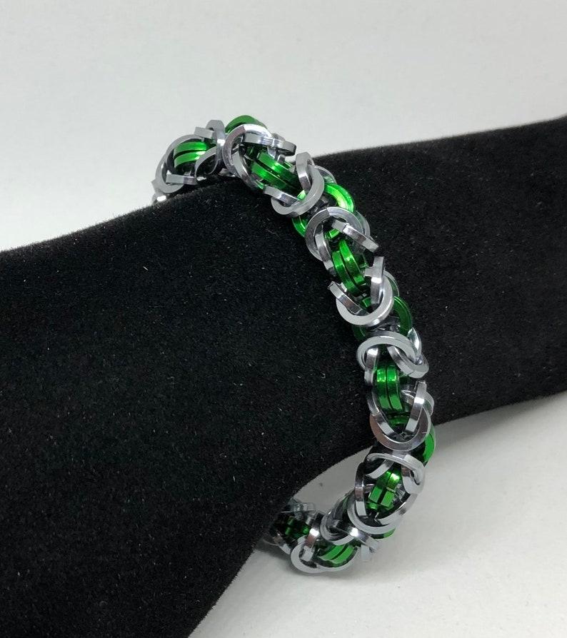 Black IceGreen Byzantine Square Chainmail Bracelet