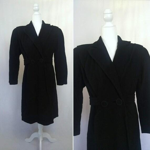 1940's Black Wool Princess Coat Vintage Berger's A