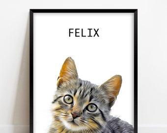 Cat Portrait Custom Pet Wall Art Printable DIGITAL Download