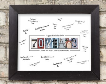 70th Birthday Gift For Men Party Guest Book Decoration Ideas