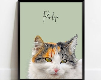Pet Portrait Custom and Personalized. Pet Cat Wall Art DIGITAL DOWNLOAD to Print on Poster or Canvas for gift.