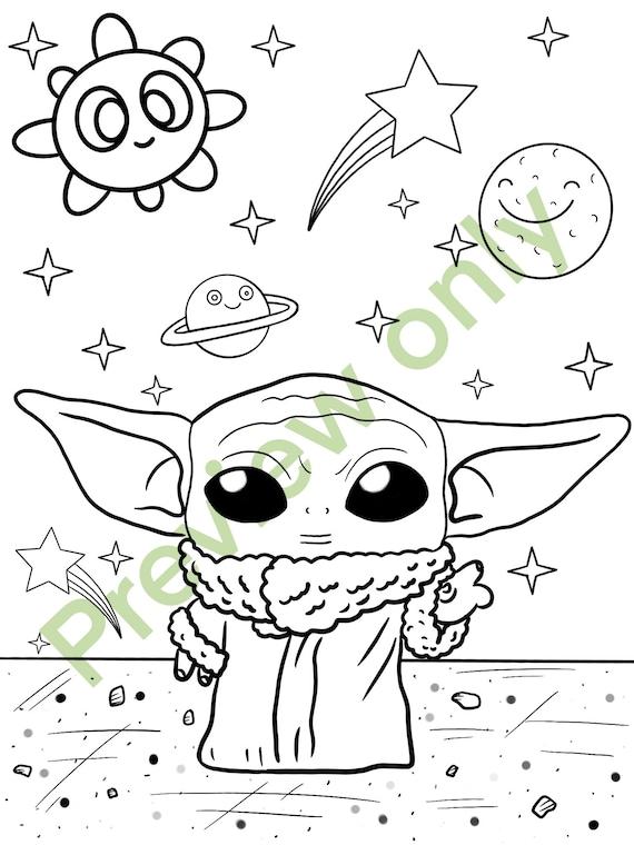 2 Baby Yoda Coloring Page Etsy