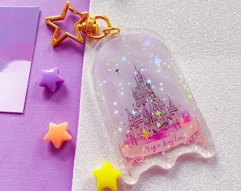 Disney World Magic Kingdom Castle, Acrylic Holographic Keychain, kawaii pink, Holo Stars