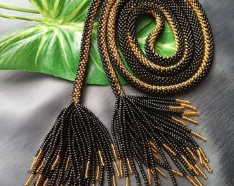 Gold Coast Crochet Bag With Necklace and Earrings Black
