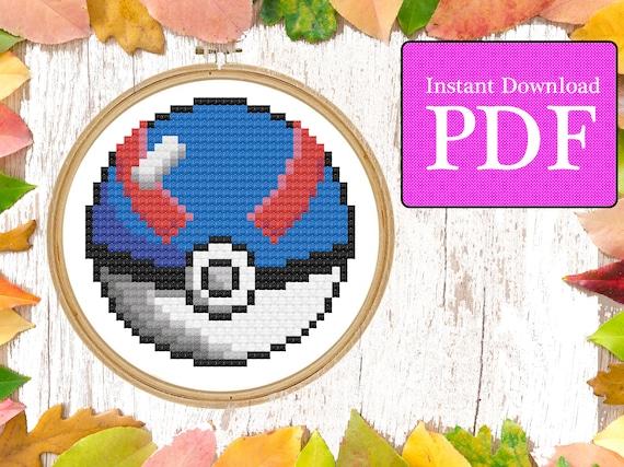 Cross Stitched Pokeball Button