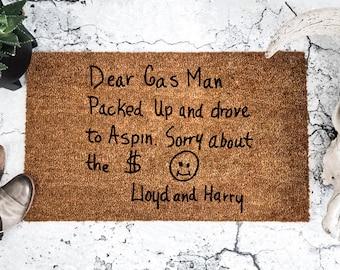 The Original Dumb and Dumber Dear Gas Man Doormat - Lloyd Christmas - Harry Dunne - 90's Movies