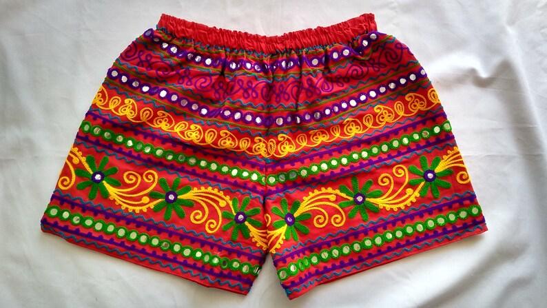 Valentine Special-Indian Beach Wear Short-Kutch Embroidered Short-Mirror Work Short-Tassel Work Cotton Short-Party Wear-Ethnic Wear Short