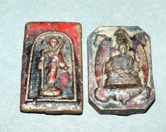 monk mage metal figurine of a druid old sorcerer wizard Vintage antique