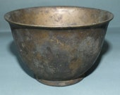 Old Bronze Ritual Offering Bowl Tibet FREE SHIPPING