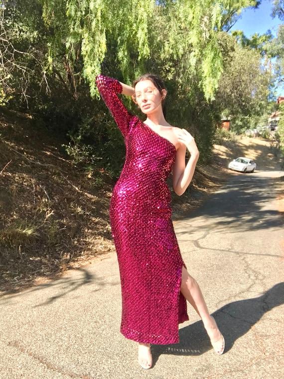 Original 50's Burlesque Raspberry Side-Split Gown