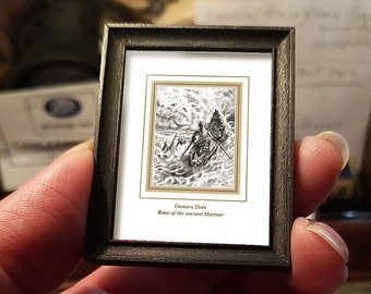 Miniature drawing #30 after Gustave Doré, Rime of the Ancient Mariner, art shipping crate with certificate of authenticity