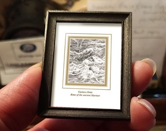 Miniature drawing #04 after Gustave Doré, Rime of the Ancient Mariner, art shipping crate with certificate of authenticity
