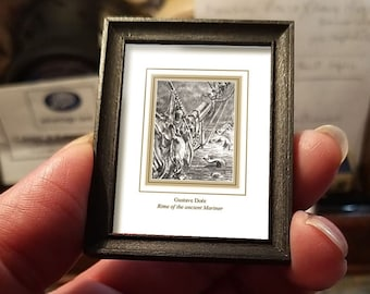Miniature drawing #20 after Gustave Doré, Rime of the Ancient Mariner, art shipping crate with certificate of authenticity