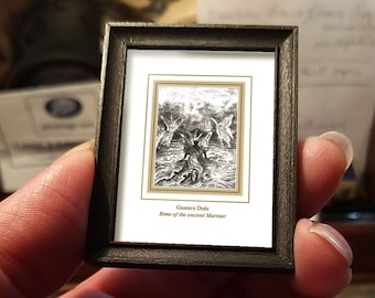 Miniature drawing #23 after Gustave Doré, Rime of the Ancient Mariner, art shipping crate with certificate of authenticity