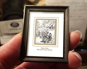 Miniature drawing #02 after Gustave Doré, Rime of the Ancient Mariner, art shipping crate with certificate of authenticity