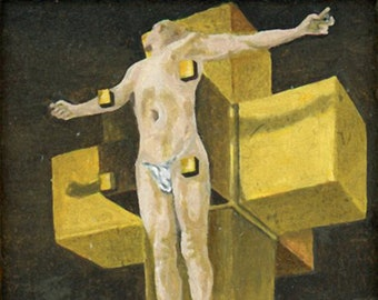 Miniature oil painting, Dollhouse, framed after Salvadore Dali, Crucifixion (Hypercubus) in art shipping crate, & authenticity certificate