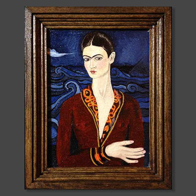 Miniature oil painting, Dollhouse, framed Frida Kahlo, Self Portrait in a  Velvet Dress in art shipping crate, & certificate of authenticity