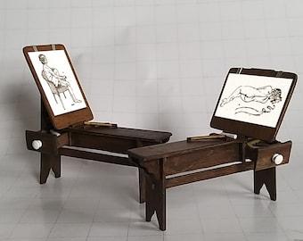 Dollhouse, Artists Donkey Easel, Hand Made, 1:12 Scale Miniature, in Dark Oak