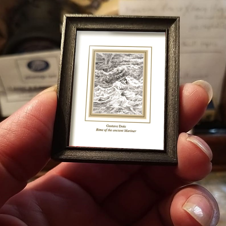 art shipping crate with certificate of authenticity Miniature drawing #04 after Gustave Dor\u00e9 Rime of the Ancient Mariner