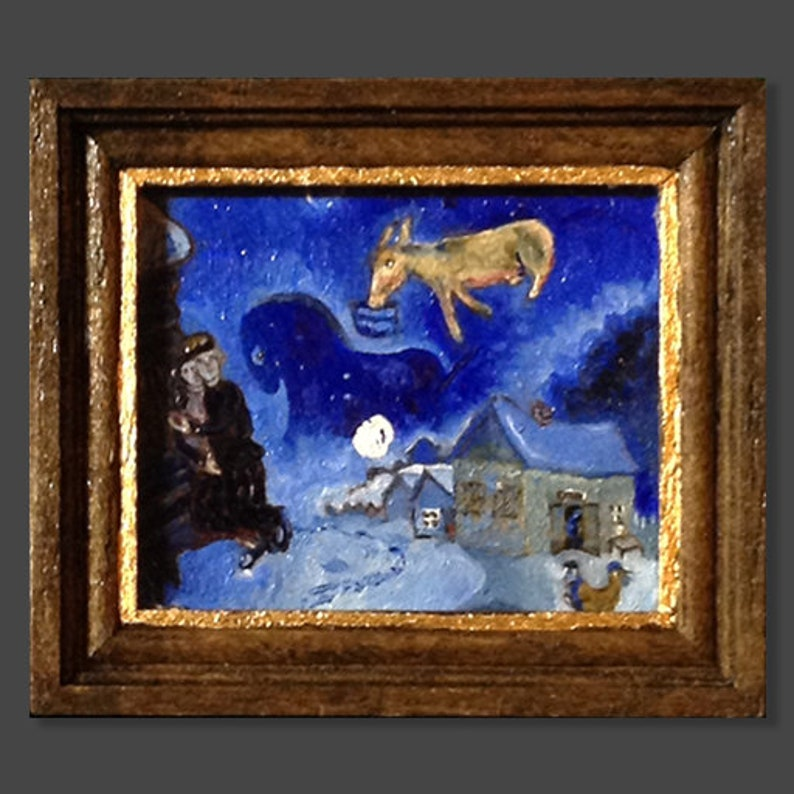 A miniature oil painting, Dollhouse, framed Marc Chagall, Dans Mon Pays  packed in own art shipping crate with certificate of authenticity