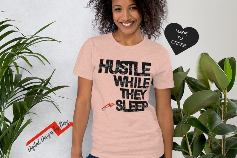 649b0753f Hustle T-shirt Short-Sleeve Graphic Tee Women's Graphic   Etsy
