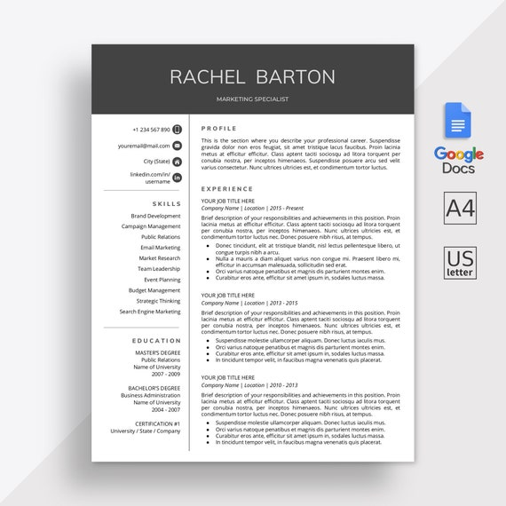 Google Docs Resume Template Google Docs Cv Template Google Docs Modern Resume Template Online Resume Cover Letter Instant Download