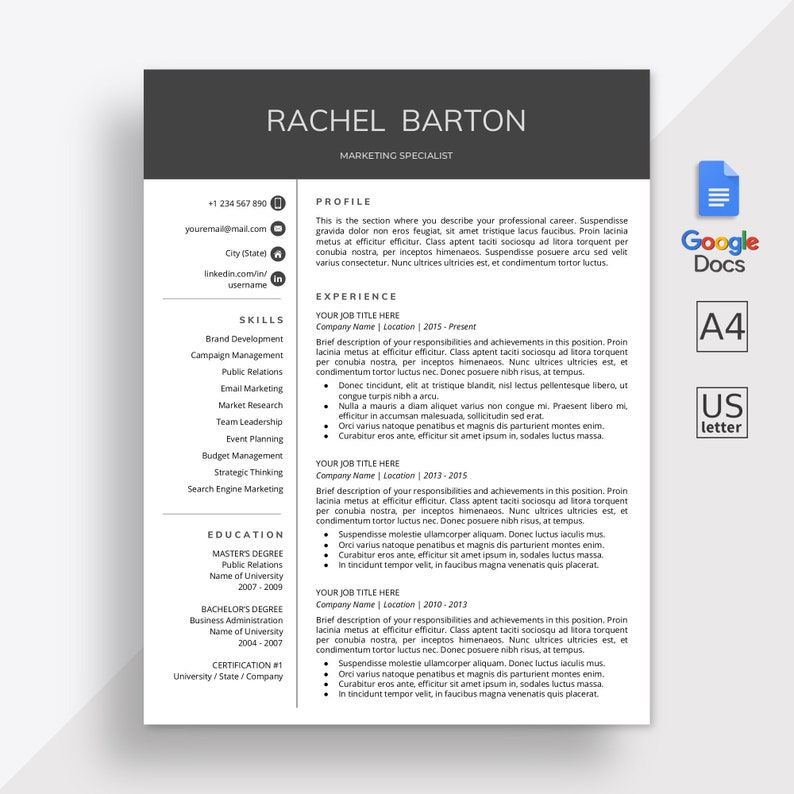 Google Docs Resume Template| Google Docs CV Template | Google Docs Modern  Resume Template | Online Resume | Cover Letter | Instant Download