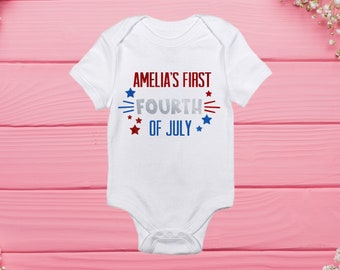 daba008d0 4th of July, Baby's First 4th, 4th of July Onesie, Custom Bodysuit, Custom  Onesie, Bodysuit, Baby Girl, Baby Boy, Independence Day