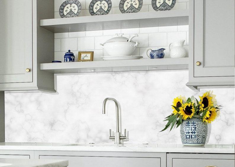 White Marble Diy Kitchen Backsplash Kitchen Sink Backsplash Easy Bathroom Backsplash Bathroom Tile Backsplash Tile Kitchen Decor