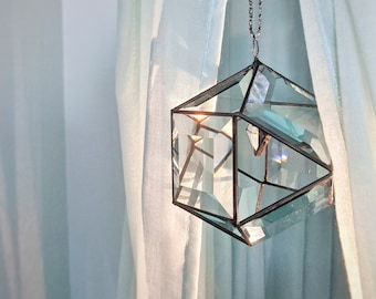 Clear beveled stained glass hanging, Original 3D suncatcher, Glass orb prism ornament