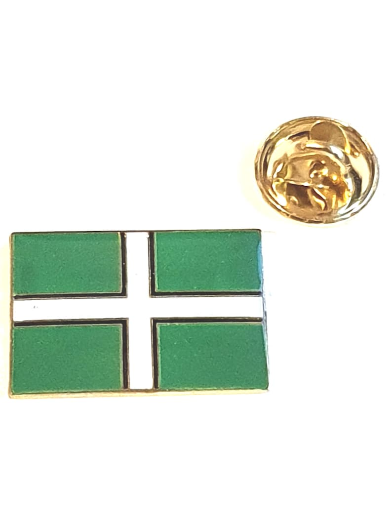 boxed tie,lapel pin with clip for rear enamel colour finish devonshire Flag  lapel pin  handmade in uk from uk made parts devon