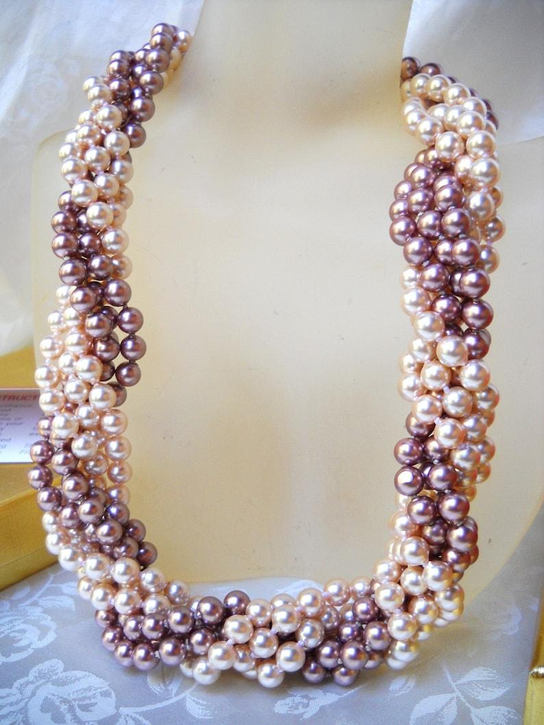 6mm l pinkd pink Majorca pearls gold fil clasps faux majorica twistedlongmulti-strand MajorcaMallorca pearl necklace multi-functional