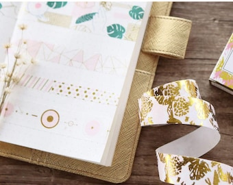Sheer Summer Washi Tape Collection - Pink & Gold Foil Paper Tape - Geometric Dots Honeycomb Palms and Flowers