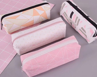 Geometric Canvas Pencil Case in Pink / White or Orange / Lime Green