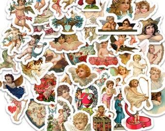 Angel Baby Sticker Set - Matte Plastic Stickers - Vintage Cherub Ephemera Stickers