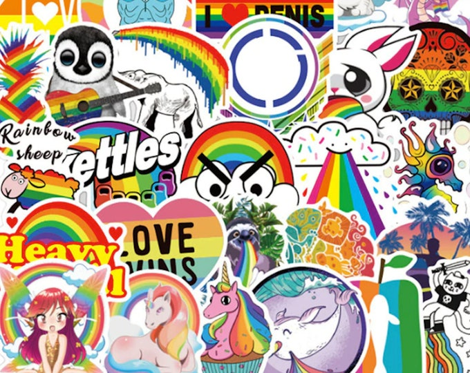 Funny LGBTQ Sticker Set - Cute Silly Animal Cartoon Pride Flag Stickers