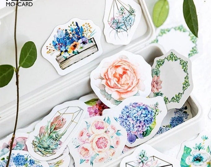 Plants Sticker Box Set - 45 Stickers - Flowers Succulents or Tropical Leaves