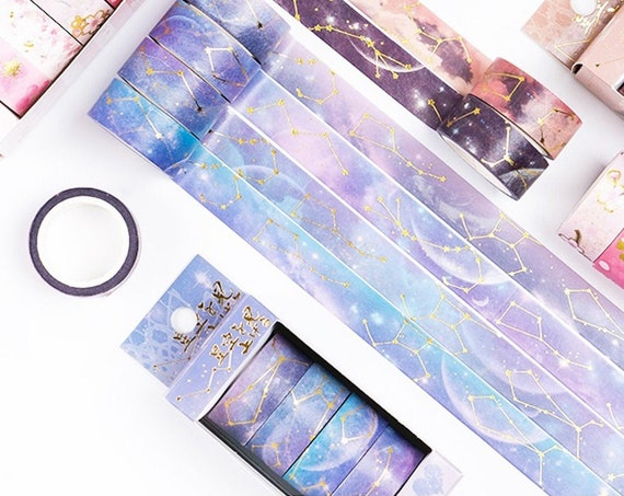 Dreamy Starry Sky 4pc Washi Tape Set with Gold Foil Stars