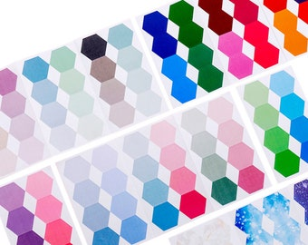 Colorful Hexagon Stickers - Paper Page Markers, Labels, Bookmarks or Tabs for School, Office, Journal, Stationery, Decorating or Gifts