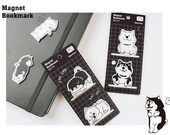 2pc Cute Pup Magnet Bookmarks