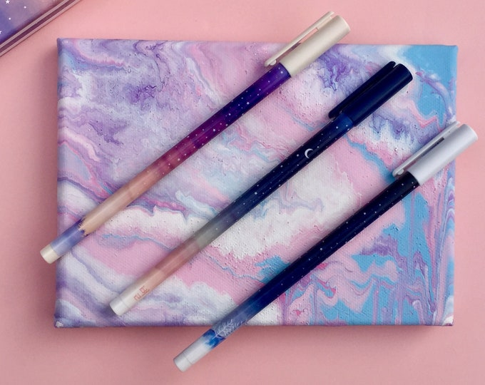Featured listing image: Starry Night Pens, Winter Pen Set, Moon & Stars Pen, Galaxy Pen, Novelty Pens, Frozen Pens, Stocking Stuffers, Unique Pens, Ombre Pen