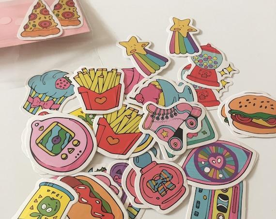 40pc Munchies Sticker Pack - 90s Colorful Retro Pop Art Paper Stickers