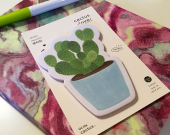 Cactus Love Sticky Notes - Memo Notepad for Office School Desktop - Four Designs Available