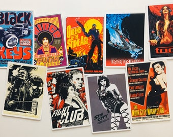 Classic Movie / Music Poster Stickers - 7pc Random Sticker Set