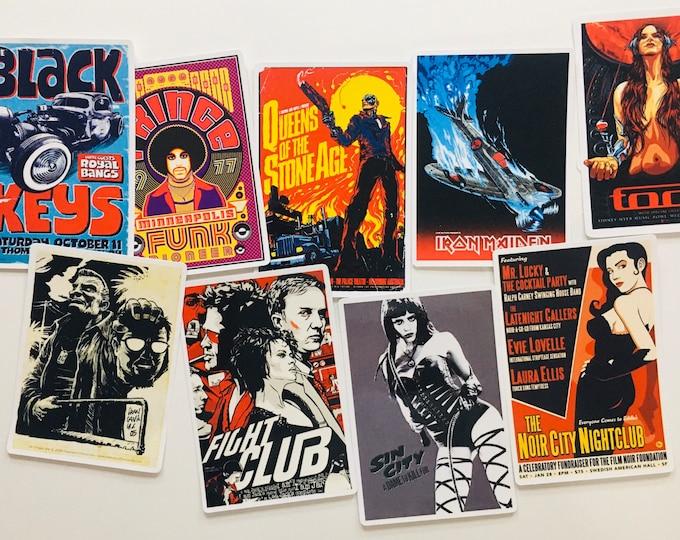 Classic Movie / Music Poster Stickers - 7pc Random Sticker Set