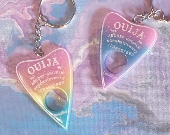 Colorful Ouija Planchette Keychain - Glitter Resin Acrylic - Gradient and Glitter Pastel Colors - 8+ Color Options Available