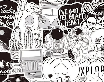 Jet Black Heart Random Sticker Set - Black and White Cute Retro Aesthetic Stickers