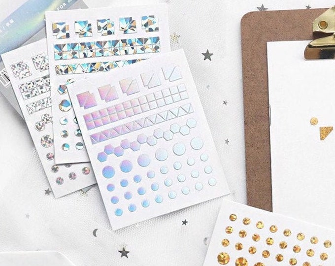 Geometric Glitter Mini Stickers - 3 Color Set - Tiny Holographic Pearlescent Glittery Stickers for Bullet Journal, Cards or Gifts