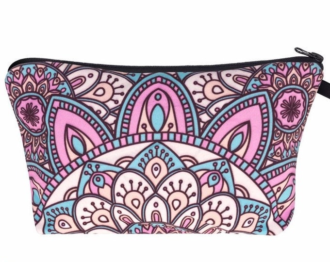 Mandala Pencil Case - Colorful Boho Pattern Pouch for School Work Makeup or Travel