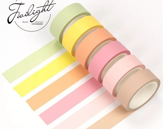 Solid Pastel Washi Tape Collection - Choose From 9+ Colors - 15mmx8m